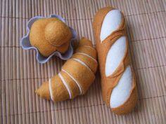 Felt Bread 3 kinds. French Baguette, Croissant, Brioche