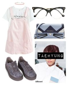"""Taehyung Cute"" by flaviaazevedo2000 ❤ liked on Polyvore featuring Puma, Miss Selfridge, Balenciaga, Karl Lagerfeld, Pink, bts, bias and taehyung"