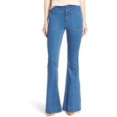 Women's Olivia Palermo + Chelsea28 High Rise Flare Jeans (¥5,145) ❤ liked on Polyvore featuring jeans, mode lt rinse, high waisted jeans, high waisted flare jeans, blue high waisted jeans, slim flare jeans and flare jeans