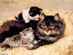 l amour maternel soleil de Henriette Ronner Knip (1821-1909, Netherlands)