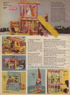 Barbie's Fashion Plaza, Country Camper, Country Livin' Home, Bubble Bath, Catamaran and Town House from the J.C. Penney Christmas Catalog, 1976