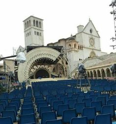 Setting up for concert in Assisi,  6.13.15