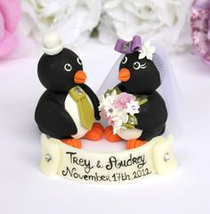 Penguin love bird custom cake topper with by PerlillaPets on Etsy, $86.00