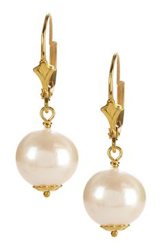 14K Yellow Gold Plated Sterling Silver 10-11mm Cultured Pearl Drop Earrings by Savvy Cie on @nordstrom_rack
