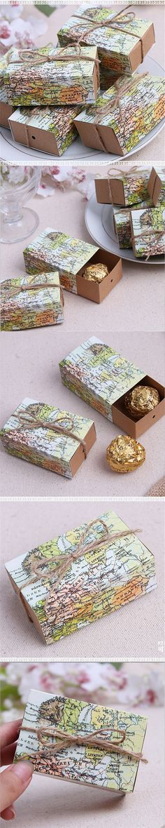 Hot Sale 50pcs Casamento World Map Wedding Favor Boxes Wedding Candy Box Wedding Favors And Gifts Event & Party Supplies Straw
