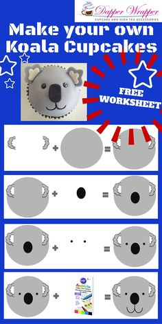 Make these easy Koala's for Australia Day!  Great school holiday activity.  FREE downloadable worksheets available. Cupcake Ideas, Cupcake Toppers, Australia Day Celebrations, Australian Party, School Holiday Activities, Party Themes, Party Ideas, Cupcake In A Cup, Bear Birthday