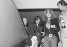 """Jimmy Page and Robert Plant at the premiere of """"The Song Remains The Same"""" in California, 1976."""