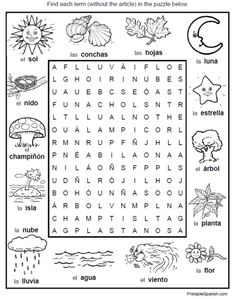 6 Puzzle Packet with full size answer keys: food, nature, people, house, fun stuff, feelings from PrintableSpanish.com