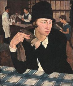 """Lotte Laserstein'sIm Gasthaus (In the Tavern), 1927, is one of the surprises in the Belvedere's exhibition on """"Vienna-Berlin: the Art of Two Cities"""". The picture shows aneue frau(modern woman), waiting for her beer and alone with her thoughts. It is difficult to understand why the Nazis regarded the picture as """"degenerate"""", but it may have been because the woman did not meet their image of femininity..."""