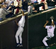 The infamous #SteveBartman Incident. Cubs ahead by a score of 3-0 in the eighth inning of Game 6 of the National League Championship Series with Cubs leading the series 3 games to 2, Steve and several other spectators attempted to catch a foul ball and possibly disrupted a potential catch by Cubs outfielder Moises Alou
