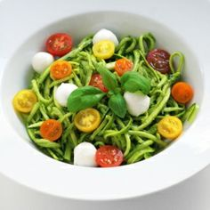 Zucchini Noodles with cheerful cherry tomatoes, little mozzarella, fresh basil pesto, gluten free, low-carb, easy & healthy!