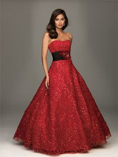 Allure A430 red beaded ball gown