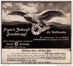 Original-Werbung/ Anzeige 1912 - PRYM'S ZUKUNFT - DRUCKKNOPF / MOTIV ADLER - ca…