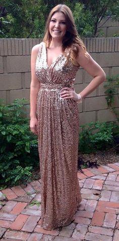 Tidetell.com Sexy A-line V-neck Floor Length Sequined Bridesmaid/Prom Dress, gold bridesmaid dresses, plus size bridesmaid dresses, long bridesmaid dresses, modern bridesmaid dresses, cheap bridesmaid dresses