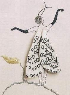 Enchanting Embroidery embroidered Butterfly Girl Hypercompe Scribonia Hand Embroidery by Taetia by staci