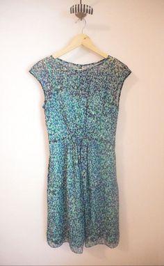 J.Crew $178 Silk Chiffon Sleeveless Watercolor Dot Blue/Green Dress Size 0 #JCrew #Sundress #Cocktail