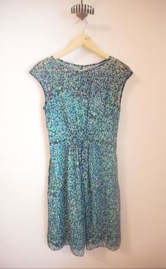J.Crew $178 Silk Chiffon Sleeveless Watercolor Dot Blue/Green Dress Size 0 #JCrew #Sundress #Cocktail