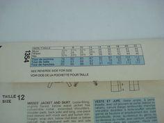 Vtg Vogue American Designer 1354 Perry Ellis Jacket Skirt Size 12 Bust 34 70 80s | eBay