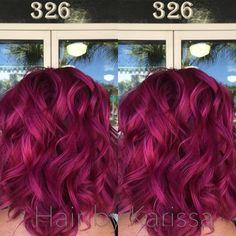 Pink hair magenta hair Kenra color Kenra creatives anything bu Colored Curly Hair, Short Curly Hair, Curly Hair Styles, Magenta Hair Colors, Fuschia Hair, Pink Purple, Bright Pink Hair, Funky Hair Colors, Colorful Hair