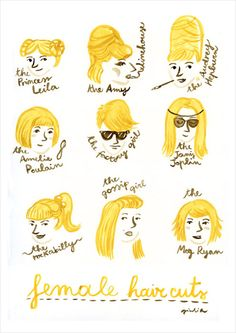 Haircuts for girls #illustration by Giulia Sagramola