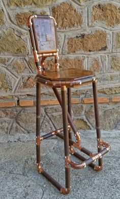 reclaimed copper pipe stool  and reclaimed wood industrial chic furniture hand made in italy by DorealiStudioRoma on Etsy https://www.etsy.com/uk/listing/291977537/reclaimed-copper-pipe-stool-and