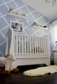 Whimsical room for a baby boy - I kinda want to do this in my bathroom with white and gray, but it seems like too much work. Hmmmmm . . .