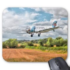"""Dakota - Cleared to land Mouse Pads Douglas DC3 aircraft Mouse Mat, 9.25"""" x 7.75"""" – Perfect for any desk or work space. Durable cloth cover is dust and stain resistant"""