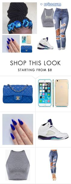 """""""@Brittnym royal Blue"""" by brittnym ❤ liked on Polyvore featuring Chanel, SGM, NIKE and Crislu"""