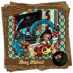 Pirate themed digital scrap kit composed of 26 (3600 x 3600 pixel, .jpg) papers and 75 .png elements, plus one Argus poser and deck scene.  300 DPI. Personal use only. Available in FULL and TAGGER sizes.