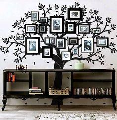 Family tree portrait wall, behind shelf