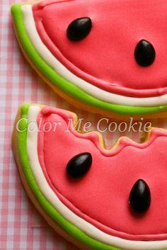 watermelon cookies ~ color me cookie