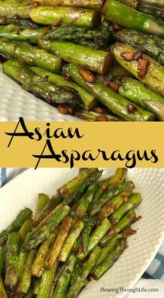 Asian Asparagus is a quick and easy side dish that has lots of flavor with only 5 simple ingredients The garlic ginger and soy sauce combination makes asparagus taste gre. Asian Side Dishes, Easy Vegetable Side Dishes, Vegetable Sides, Veggie Dishes, Side Dishes Easy, Side Dish Recipes, Vegetable Recipes, Asian Recipes, Vegetarian Recipes