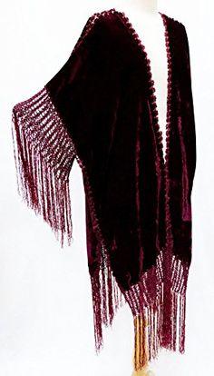 Bohemian Crochet Fringe Velvet Jacket Kimono Burgundy Red Steel Paisley http://www.amazon.com/dp/B018TDRWLO/ref=cm_sw_r_pi_dp_A1Kxwb1H12XZN