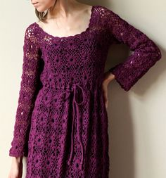 60s Crocheted Dress  vintage Royal Purple jewel by factoryhandbook, $145.00