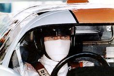"""Steve McQueen on the set of the movie """"Le Mans"""" © photo by: Lion André de Lourmel"""