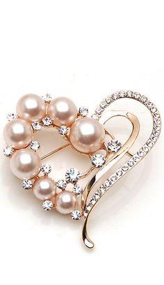 Korean Peach Pearl Heart Brooch