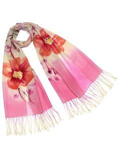 Dahlia Women's 100% Merino Wool Pashmina Scarf - Hand Painted Bloosom Branch at Amazon Women's Clothing store: