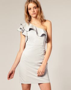 Zip Frill One Shoulder Dress