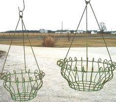Wrought Iron Georgian Hanging Planter Basket in 2 Sizes