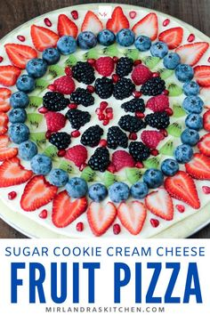 Fresh fruit pizza is always the perfect food! Make it as a family or for a summer BBQ. Everybody loves the easy no chill sugar cookie crust and cream cheese frosting topped with beautiful fresh fruit. You will be the most popular person in the room! Sugar Cookie Pizza, Sugar Cookie Dough, Cookie Crust, Easy Fruit Pizza, Homemade Sugar Cookies, Summer Desserts, Summer Treats, Fun Desserts, Cookies And Cream