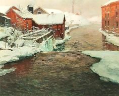 A Factory in Norway, Fritz Thaulow. Norwegian Impressionist Painter, ( 1847-1906 )