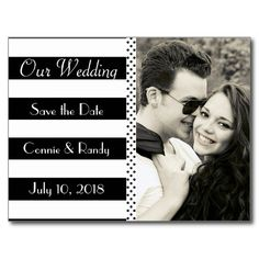 Elegant Black and White Stripe Save the Date Postc Postcards