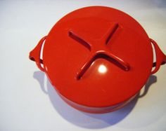 Dansk Kobenstyle Red Enameled Two Quart Pot or Dutch Oven With Lid That Doubles As Trivet