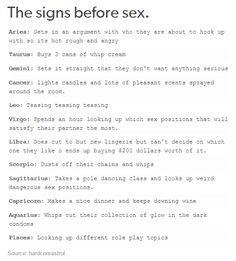 The signs before sex