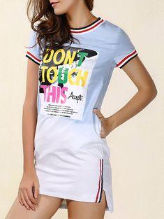 $11.91 Chic Round Neck Letter Print Slit Asymmetrical Dress For Women
