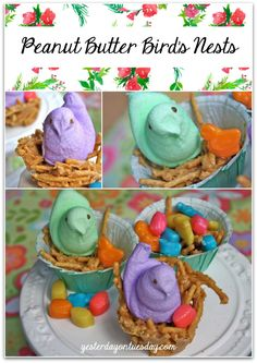 Peanut Butter Bird's Nests Recipe, a cute and delicious Easter and Springtime treat!
