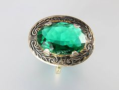 Art Deco Czech Emerald Green glass Ring 1920s jewelry