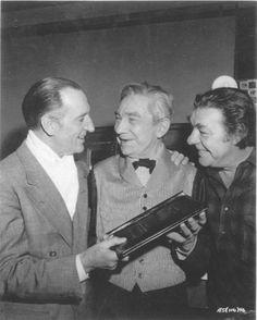 Basil Rathbone, Bela Lugosi and Lon Chaney Jr., on the set of The Black Sleep.