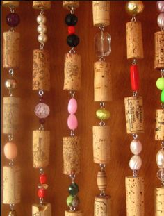 Recycled cork & bead curtain, by Yvonne Lucia