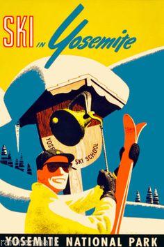 Ski-Yosemite-California-United-States-America-Travel-Advertisement-Art-Poster